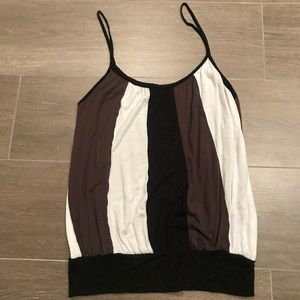 Striped dressy tank top. Neutral colors